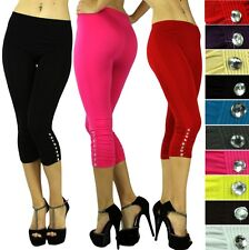 Choose A Sexy Seamless Ruched Opaque Rhinestone Capri Cropped Legging Pants