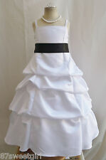 NEW WHITE/BLACK DAVIDS WEDDING PARTY RECITAL FLOWER GIRL DRESS 4 6 8 10 12 14