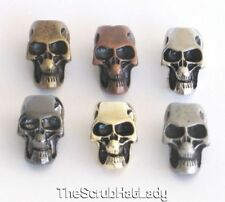 metal skull beads for paracord lanyards U pick finish & quantity large 6mm hole