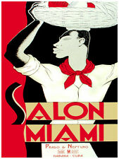 93.Art Decoration POSTER.Graphics to decorate home office.Salon Miami Red-Black.
