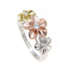 STERLING SILVER 925 TRICOLOR HAWAIIAN 8-10-8MM PLUMERIA FLOWER RING SIZE 3 - 10