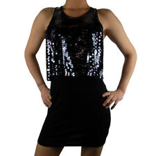 Ladies Mini Dress Top Vest Long Sequin Sequence Womens Bling Sexy Party Black