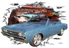 1967 Blue Chevy Chevelle SS Convertible Hot Rod Diner T-Shirt 67 Muscle Car Tee