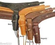.22 22 Drop Loop Gun Belt Holster WESTERN COWBOY Tooled Leather Size 32-52 NEW