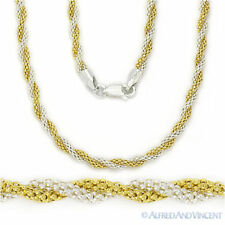 925 Sterling Silver 14k Gold 3.2mm Twist-Rope Popcorn Link Chain Necklace Italy
