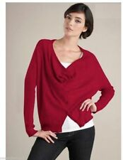 $198 Eileen Fisher China Red Organic Cotton Fair Trade Cowl Neck Cardigan