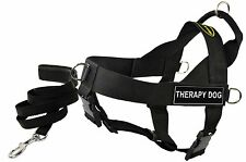 DT UNIVERSAL Working Harness & Padded Puppy Leash w/ Velcro Patch: THERAPY DOG
