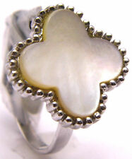 Ring Pretty Shape w/ White Shimmery Shell 925 Sterling Silver