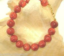 12MM GENUINE NATURAL INDO-PACIFIC ROUND RED SPONGE CORAL BEAD BRACELET #1