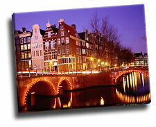 City Lights, Amsterdam, Netherlands Cityscape Giclee Canvas Picture Art