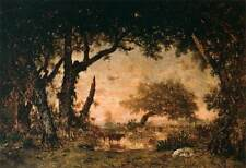 Photo Print Edge of the Forest at Fontainebleau, Setting Sun Rousseau, Theodor