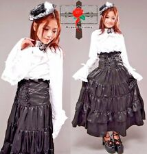 Visual Kei Gothic Satin Steampunk Lolita Corset Quality Long High-Waist Skirt