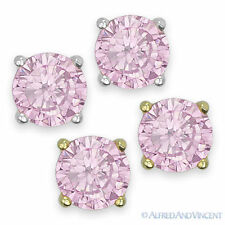 Round Cut Cubic Zirconia Faux Tourmaline Sterling Silver Stud Earrings October