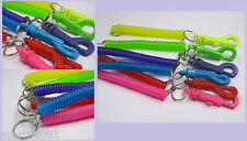 STRETCHY NEON SPIRAL STRETCH SPRINGY COILED KEYRING RETRACTABLE KEYCHAIN WORK ID