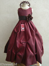 BURGUNDY WINE BROWN PAGEANT FLOWER GIRL DRESS SIZE 2T 2 3T 4 5 6X 6 7 8 10 12 14