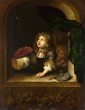 Photo/Poster - Two Boys Blowing Bubbles - Netscher Caspar B 1639 Prague D 1684 T