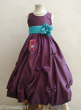 PURPLE PLUM TEAL JADE PARTY FLOWER GIRL DRESS SIZE 2T 2 3 4 5 6X 6 7 8 10 12 14