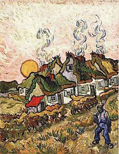 Art Print - Thatched Cottages In Sunshine Reminiscences Of North - Gogh Vincent