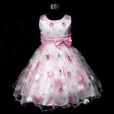 P3211 Pink Church Service Christening Wedding Flower Girls Dress SZ 3-4-5-6-7-8Y
