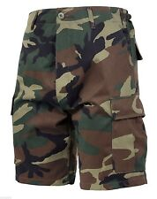SHORTS WOODLAND CAMO BDU MILITARY STYLE RIP STOP OR POLY COTTON ROTHCO 7056