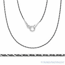 Solid .925 Sterling Silver Black Rhodium Plated Snake Link Chain Necklace Italy