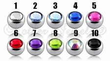 16g SURGICAL STEEL TINY 2.5MM LIP TRAGUS EYEBROW BELLY BAR CZ REPLACEMENT BALL