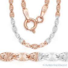 .925 Sterling Silver 14k Rose Gold 2.5mm Valentino Link Italian Chain Necklace
