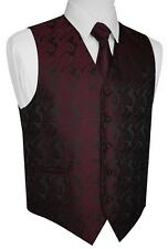 ITALIAN DESIGN 3 PIECES BERRY PAISLEY TUXEDO VEST, TIE & HANKY SET. XS-6XL