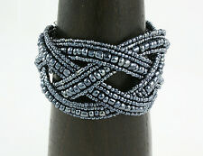 Fashionable Braided Seed Bead Cuff Bracelet Hematite Color Cyber Monday Deals