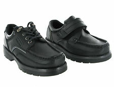 MacAdams Leather Black Velcro or Lace Formal Casual School Shoes Boys UK8-6