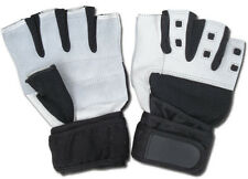 GENUINE GOAT LEATHER LONG WRIST STRAP CUT FINGER WEIGHT LIFTING GLOVES WG100