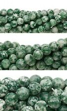 Lot of 10, 16 inch Strands Round Green & White Tree Agate Natural Gemstone Beads