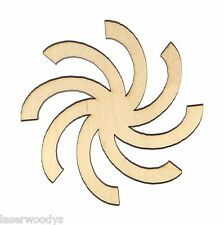 Whirl Unfinished Flat Wood Shapes Cut Outs W1043 Variety Sizes Laser Crafts