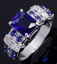Size 6,7,8,9,10 Jewelry Woman's Blue Sapphire 18k White Gold Filled Ring Gift