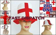 St Georges England Rugby Football Supporters Fancy Dress Hat Wig Large Flag