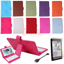 """Faux Leather Cover Keyboard Case Google Asus Nexus 7"""" + Micro USB + Screen Guard"""