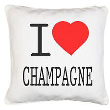I Love Heart Champagne Gift Soft Luxury Satin Effect Polyester Cushion