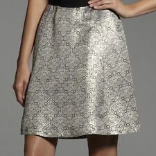 NARCISO RODRIGUEZ Womens Gold Jacquard A-Line Skirt NWT