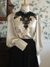 FRONTIER CLASSICS IVORY / BLACK CRUSHED SATIN JOSEPHINE BLOUSE Steampunk SASS
