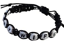 ARMY WIFE Black Hemp Bracelet with White Letter Beads Handmade Surfer Casual