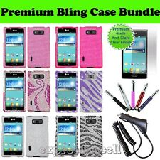 LG Optimus Showtime L86C Straight Talk Bling Case Cover Screen Charger Stylus