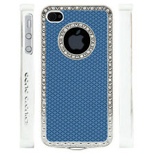 Apple iPhone 4 4S Gem Crystal Rhinestone Blue Diamond Rubber case