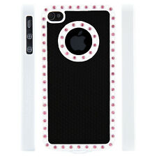 Apple iPhone 4 4S Gem Crystal Rhinestone Black Diamond Rubber case