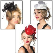 Black, Red or White Satin Mini Top Hat Gothic Halloween Costume Accessory