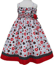 New Adorable Red, white and black girls daisy summer dress with smocking 17585