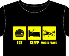 T Shirt mens MODEL PLANE gift eat sleep engine prop kit wheels radio control