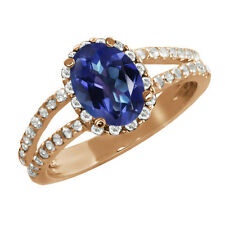 2.08 Ct Oval Tanzanite Blue Mystic Topaz Sapphire Gold Plated Silver Ring