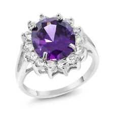 Stunning 12X10mm Oval Purple and White Cubic Zirconia CZ Ring Size 5-9