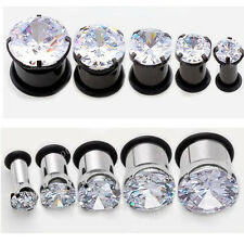Stainless Steel Cubic Zirconia Crystal Hollow Ear Expander Plugs Flesh Earlets