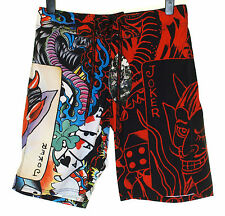 Bnwt Authentique Hommes Ed Hardy board swim shorts de surf Live Once Joker Noir NEUF